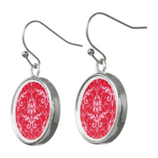 Rosa Damast-rote Hintergrund-Tropfen-Ohrringe Ohrringe