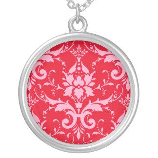 Rosa Damast-roter Hintergrund-runde Halskette