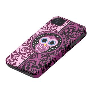 rosa Damast und Eule iPhone 4 Hüllen