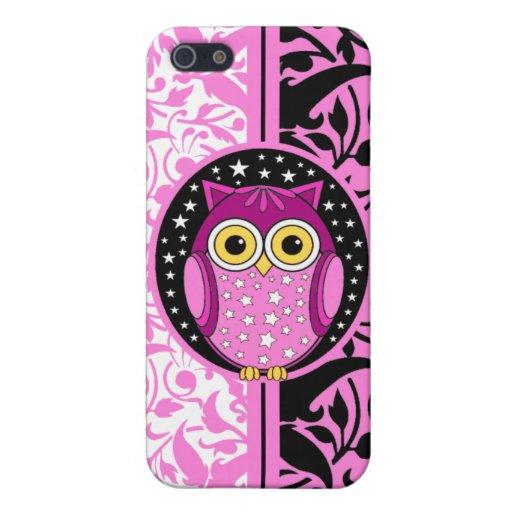 rosa Damast und Eule Etui Fürs iPhone 5
