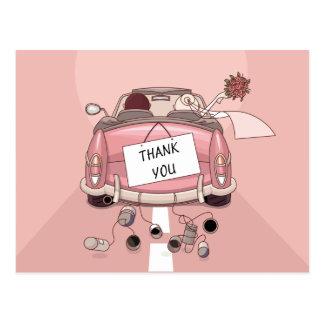 Rosa danken Ihnen Hochzeits-Auto-Braut u. Postkarte
