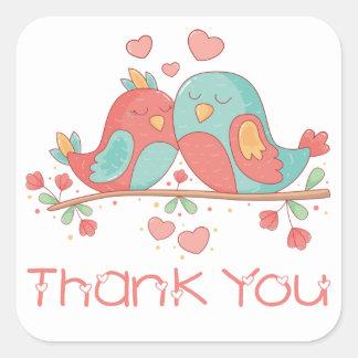 Rosa danken Ihnen Lovebirds-blaue Türkis-Hochzeit Quadratischer Aufkleber