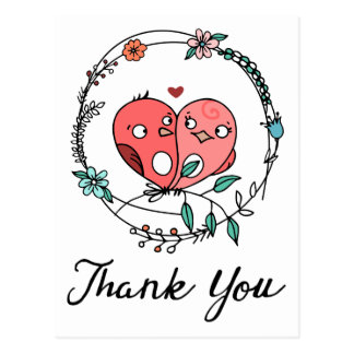 Rosa danken Ihnen Lovebirds-BlumenKranz Weddi Postkarte