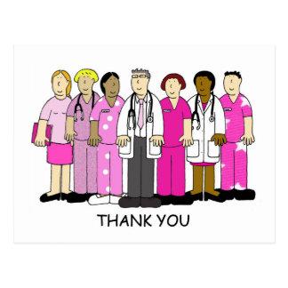 Rosa danken Ihnen zum medizinischen Team des Postkarte
