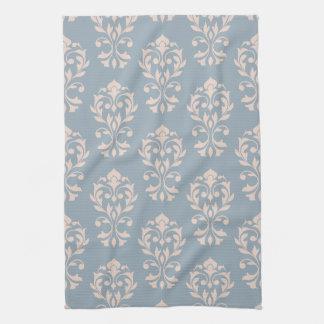 Rosa des Herz-Damast-II (V) Ptn auf Blau Handtuch