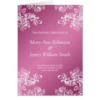 Rosa des Hochzeits-Programm-Vintages Wirbels-2 Grußkarte
