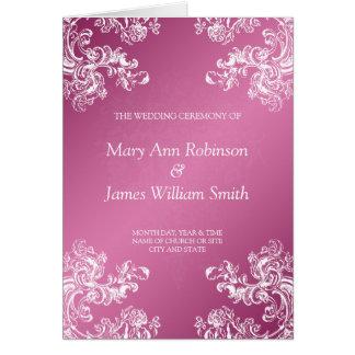 Rosa des Hochzeits-Programm-Vintages Wirbels-2 Karte