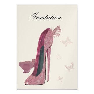 Rosa des Schein-Stilett-und Schmetterlinges 12,7 X 17,8 Cm Einladungskarte