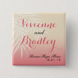 Rosa des Sommer-Brisen-Strand-Hochzeits-Gastes   Quadratischer Button 5,1 Cm
