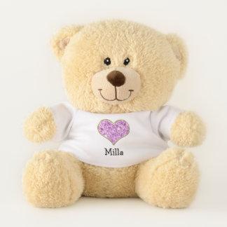 Rosa Diamant-Herzpersonalisierter Teddy-Bär Teddybär