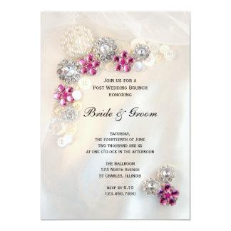 Rosa Diamant perlt Knopf-Posten-Hochzeits-Brunch 12,7 X 17,8 Cm Einladungskarte