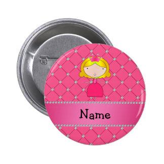 Rosa Diamanten personalisierter Namensprinzessin Anstecknadelbutton
