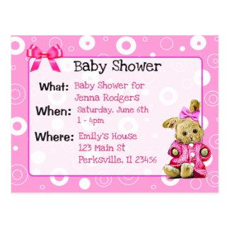 Rosa die Babyparty-Einladung des Häschen-Mädchens Postkarte