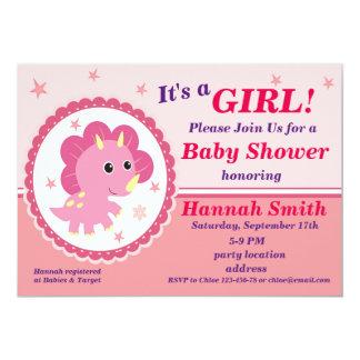 Rosa Dinosaurier-Babypartyeinladung 12,7 X 17,8 Cm Einladungskarte