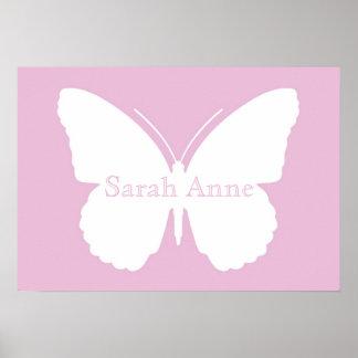 Rosa Dotty Schmetterlings-Plakat Poster