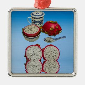 Rosa Drache-Frucht Silbernes Ornament