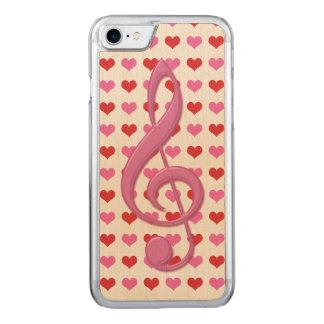 Rosa dreifacher Clef-Liebe-Herz-Musik Carved iPhone 8/7 Hülle