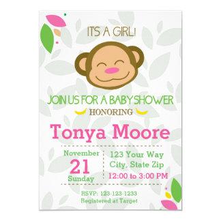 Rosa Dschungel-Affe-Babyparty-Einladung 12,7 X 17,8 Cm Einladungskarte