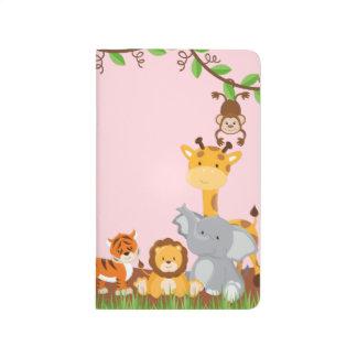 Rosa Dschungel-Baby-Tiertaschen-Zeitschrift Taschennotizbuch