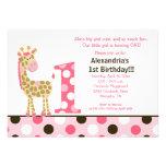 Rosa Dschungel-Giraffen-1. Geburtstags-Einladungs- Individuelle Ankündigungen
