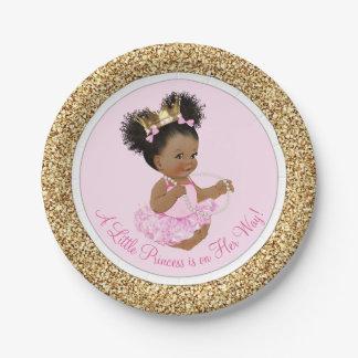 Rosa Duschen-Papier-Teller Goldprinzessin-Baby Pappteller