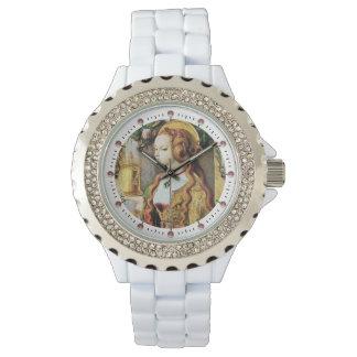 Rosa Edelsteine MARIA-MAGDALENE, weiß Armbanduhr