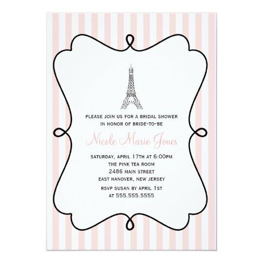 Rosa Eiffel-Turm-Brautparty 12,7 X 17,8 Cm Einladungskarte