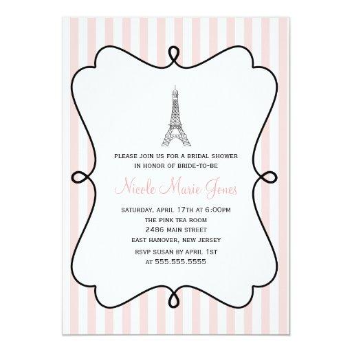 Rosa Eiffel Turm-Brautparty Paris Ankündigungskarten