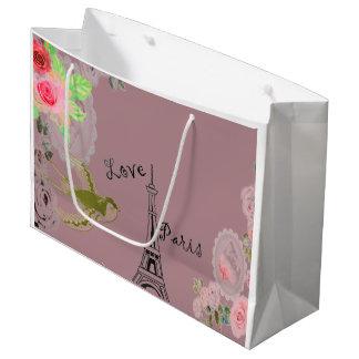 Rosa Eiffel-Turm-Rosen-Geschenk-Tasche Große Geschenktüte