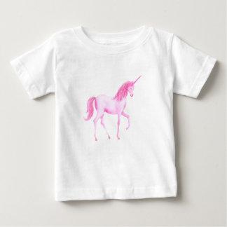 Rosa Einhorn des Aquarells Baby T-shirt