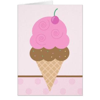 Rosa Eistüte Grußkarte