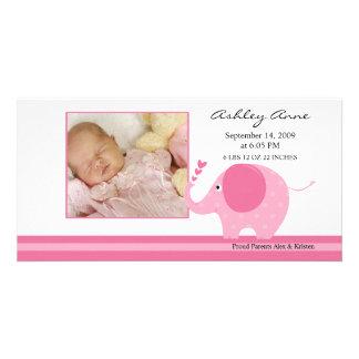 Rosa Elefant-Baby-Geburt Annoucement Bildkarten