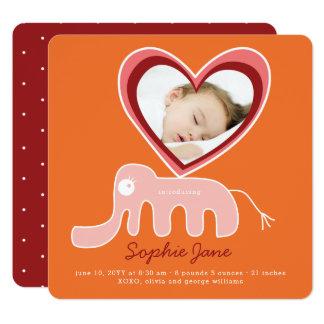 Rosa Elefant-Baby-Mädchen-Foto-Geburts-Mitteilung Karte