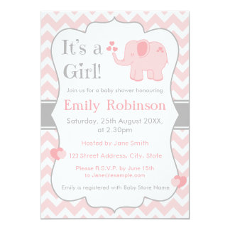 Rosa Elefant-Babyparty-Einladung - Mädchen 12,7 X 17,8 Cm Einladungskarte