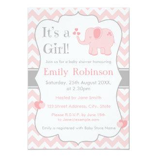 Rosa Elefant-Babyparty-Einladung - Mädchen Karte