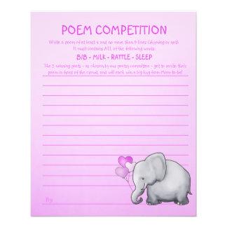 Rosa Elefant-Babyparty-Gedicht-Wettbewerbs-Spiel Flyer