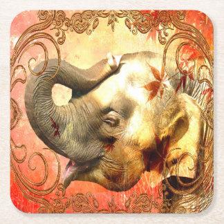 Rosa Elefant-Quadrat-Untersetzer Rechteckiger Pappuntersetzer