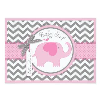 Rosa Elefant-Vogel und Zickzack Druck-Baby-Dusche Karte