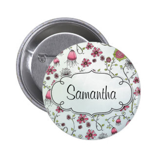 Rosa elegante Blumen mit Rahmen für Namen Runder Button 5,7 Cm