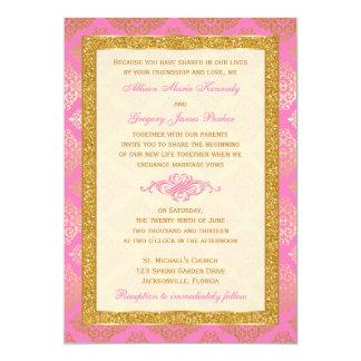 Rosa, Elfenbein, GoldGlitter, Damast-Hochzeit 12,7 X 17,8 Cm Einladungskarte