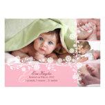 Rosa empfindliche BlumenBaby-Mitteilung auch Einladungskarte