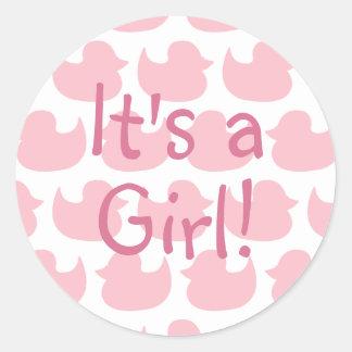 Rosa Enten-Muster ist es ein Mädchen Runder Aufkleber