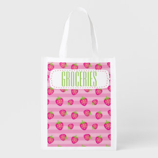 Rosa Erdbeerdruck-Lebensmittelgeschäft Wiederverwendbare Einkaufstasche