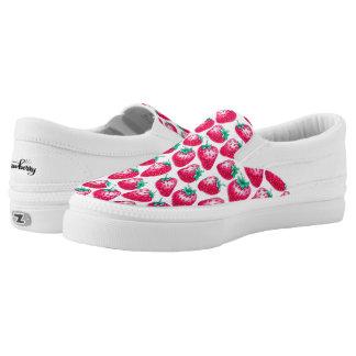 Rosa Erdbeere auf weißem Hintergrund Slip-On Sneaker