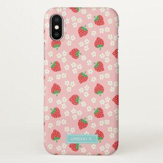 Rosa Erdbeeren u. Blüte - Name iPhone X Hülle