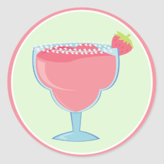 Rosa Erdbeermargarita-Getränk Runde Sticker