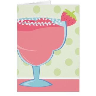 Rosa Erdbeermargarita-Getränk Grußkarte