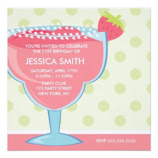 Rosa Erdbeermargarita-Party Individuelle Ankündigungskarte