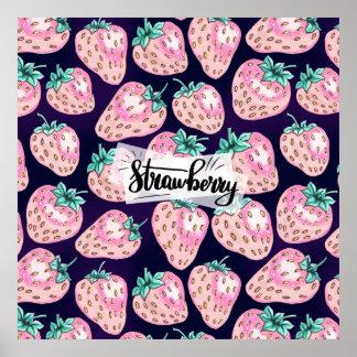 Rosa Erdbeermuster auf lila Hintergrund Poster