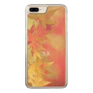 Rosa erröten goldenes Herbst-Ahornblatt-Monogramm Carved iPhone 8 Plus/7 Plus Hülle